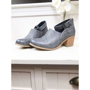TC, gray ankle strap bootie